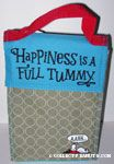 Snoopy laying in dogdish 'Happiness is a full tummy' Cloth Lunch Bag