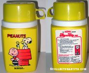 Snoopy, Woodstock & Charlie Brown eating by Doghouse Yellow Plastic Flip & Sip Thermos