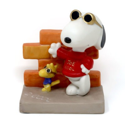 Snoopy Joe Cool and Woodstock leaning on wall Figurine