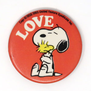 Snoopy hugging Woodstock Button