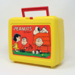 Peanuts Gang around camp fire Yellow Plastic Lunch Box